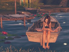 •Uncertain Destiny• (lunakittiee.artsl) Tags: quote photography photo boat myedit lake water waterlily dock book blanket blackdress life art secondlife mylife throughmyeyes secondlifenature secondlifeboho
