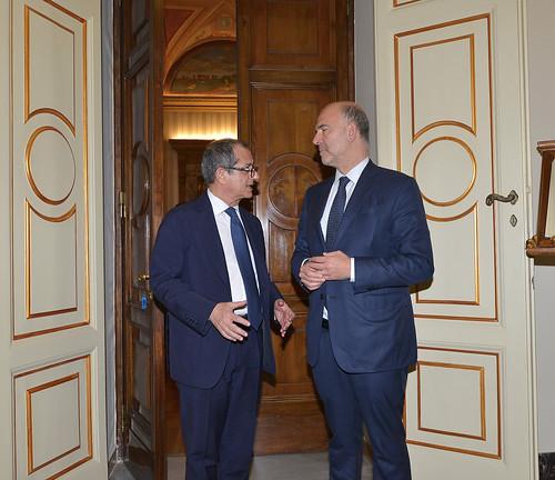Incontro e punto stampa tra il ministro Tria e il Commissario Ue Moscovici