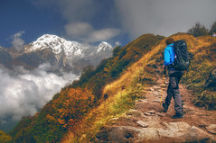 way to heaven .. (tchakladerphotography) Tags: landscape nature person trekking nepal mountain highland light sky clouds grass trees rock road colorful