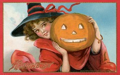 Halloween—Witch with Jack-o'-Lantern (Alan Mays) Tags: ephemera postcards greetingcards greetings cards paper printed halloween holidays october31 jackolanterns pumpkins witches women witchhats hats clothes clothing robes ribbons bracelets hearts smiles smiling grinning borders illustrations orange red blue gold 1910 1910s antique old vintage typefaces type typography fonts raphaeltucksons raphaeltuck tuck postcardpublishers halloweenseries 174 series174 postcardseries