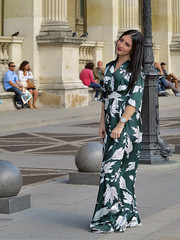 Fashion model posing with long dress (pivapao's citylife flavors) Tags: paris france people louvre girl beauties fashion