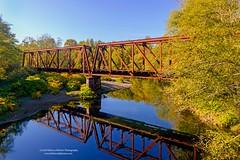 Railroad Bridge in Montesano, WA (rebeccabphotos.com) Tags: railroad fall reflection rebeccabphotos montesano colorful river bridge washington washingtonphotography visitwashington nikon nikond800