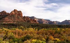 Autumn in Sedona (Ron Drew) Tags: nikon d850 arizona sedona autumn redrocks cliffs foliage clouds southwest usa outdoors butte