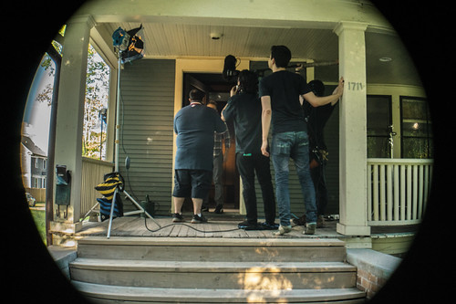 "Cast and crew filming the delivery scene of ""Note to Self"""