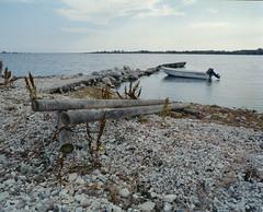 Summer beach (nextstopbombay) Tags: pentax67ii kodakportra400 220film c41 colour analogue boat water outside blue rubbish