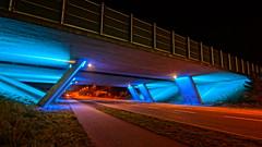 The bridge in HDR (Steenjep) Tags: herning jylland jutland danmark denmark bro bridge vej road street motorvej motorway lys light blue blå concrete construction hdr