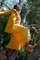 Rashida (BrendonQ) Tags: beautiful yellow woman tree spirit heart love portait photography fashion heels sun shine portland oregon pnw pdx nature climb adventure