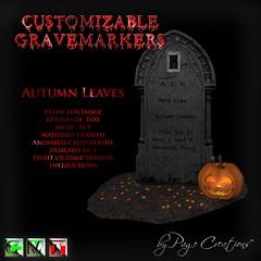 ღ ♡  Gravemarkers - Autumn Leaves Dk by Page Creations™ ♡ ღ (Raven Page) Tags: halloween props decor mesh spooky scary fog pumpkins gothic goth