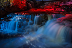 Almont Waterfall (vanessa_macdonald) Tags: ontario waterfall lights nightphotography nightscape vivid colourful colours colour canada beauty flow falls water flowing landscape lightpainting nightlights glow glowing canadian magic magical almont