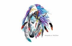 INDIAN HORSE, XL Transfer Print, Bügelbild zum aufbügeln (patchmonkeys) Tags: patch bügelbild einhorn applikation aufbügler print pferd blumen indianer transfer bügeln pferdekopf