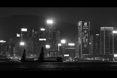 Dec 26, 2017 (pavelkhurlapov) Tags: water night skyscrapers lights buildings sea mountain contrast monochrome shapes neon noir cityscape city sky