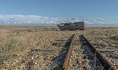Off the rails (David Feuerhelm) Tags: wideangle perspective boat rail beach shingle abandoned wreck sky cloude nikkor coast dungeness kent uk england nikon d750 2470mmf28