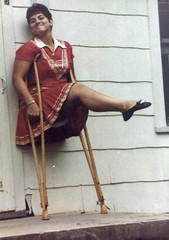 1960s monopede showing off (jackcast2015) Tags: amputee amputeewoman amputeelady disabledwoman disabledladies crippledwoman crippled crippledlady crutch crutches monopede