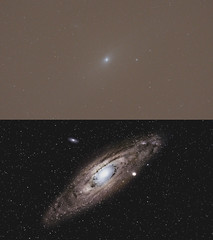 M31 - M31 - M110 : stacking (Before/After) (Franck Zumella) Tags: ciel sky dark sombre black deep profond night nuit galagy galaxie m31 m32 m110 ngc astronomy astronomie astrophoto sony a7s a7 tamron 150600 siril