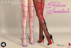 Felicia Sandals (Ashleey Andrew) Tags: garbaggio sl secondlife virtual world second life fashion apparel accessories footwear shoes original mesh shoe sandal gladiator metal detail thigh high