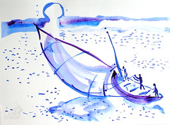 AFRICA TO THE NAKED 212 (eduard muntada) Tags: africa to the naked 212 watercolor sun river purple mountains blue minimal simplicity boat