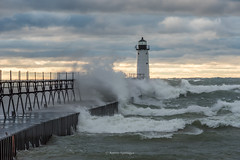White Noise (Aaron Springer) Tags: michigan northernmichigan lakemichigan thegreatlakes manisteenorthpierheadlight weather gale storm waves lighthouse pier catwalk autumn fall october outdoor nature seascape