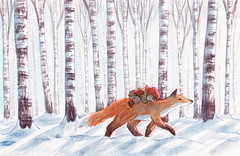 Fox (EmblaEster) Tags: art illustration drawing painting childrens elf christmas nature snow cute whimsical fox animal shadow birch tree forest black white blue sleeping carrying child walking sunlight