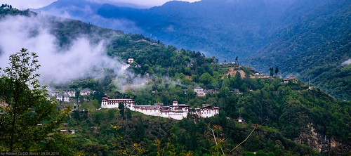 Yangkhil Resort (Hotel) - View of the Trongsa Dzong