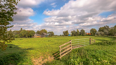 Country life close to Rotterdam (FotoCorn) Tags: peaceful meadow agriculture rotterdam summer panoramic outdoors schiedam fence landscape nature middendelfland rural light trees countryside colorful scenery beautiful agricultural farmland sky delft grassland farming netherlands europe clouds field