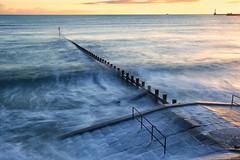 Red over Blue (PeskyMesky) Tags: aberdeen aberdeenbeach longexposure sunrise sunset water scotland sea ocean landscape canon canon6d wave eos
