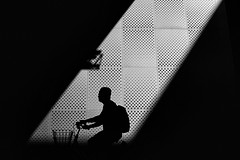 Shadow rider #2 (Birdhouse camper) Tags: copenhagen denmark fujifilm fuji x100f fujix100f street silhouette bicycle blackandwhite blackwhite light contrast