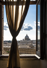 St. Peter's Basilica and Dome seen from Castel Sant'Angelo, Rome (Up and Down the Horizon) Tags: rome roma castelsantangelo finestra window stpeters dome cupola sanpietro basilica chiesa church clouds nuvole