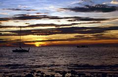 Tioman Island (scuba_dooba) Tags: malaysia gunung daik bercabang tiga tioman island pahang boat film transparency nikonfe ektachrome200 slide 35mm scan scanned epson gt7000 gt 7000 flatbed scanner asia south east sea coast pulau malaya se reel3 plustek opticfilm 7600i 7200dpi wolf faust vuescan sunset