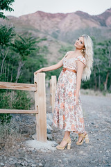 Anna (ThatCherub) Tags: sundress dress wearing flowers carefree blonde high heels mountains girl female woman hot sexy cute long hair fence sony a9 50mm