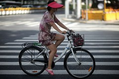 I'd Love Her Pink, I know (N A Y E E M) Tags: lady woman beauty bicycle shanghainese chinese afternoon light colors candid street shanghai china