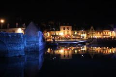 (David Locke) Tags: auray bretagne night nightscape port boat bridge