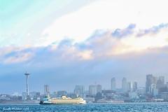 Alki Sunrise No. 5 (jenelle.melchior) Tags: sunrise ferry ocean boat spaceneedle seattle city skyline landscape puget sound buildings sky clouds blue water nature