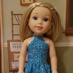 #welliewishers Camille in a blue dress from #Ellie'sStyle pattern Emily Dress (sewdolledup_by_emg) Tags: welliewishers ellie