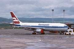 D-AMAY Airbus A300-103 EGPF 12-05-76 (MarkP51) Tags: damay airbus a300103 a300 germanair glasgow airport gla egpf scotland airliner aircraft airplane plane image markp51 aviationphotography kodachromeii slide film scan