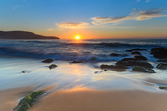 Sunrise Seascape (Merrillie) Tags: daybreak sunrise cloudy australia nsw centralcoast clouds sea newsouthwales rocks earlymorning morning water landscape ocean nature sky waterscape coastal seascape outdoors killcarebeach dawn coast killcare waves
