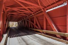 Rare Find - Bridge Interior Painted Same As Exterior (John H Bowman) Tags: maryland baltimorecounty harfordcounty coveredbridges marylandcoveredbridges jerichocoveredbridge historic nrhp burrarchtruss queenposttruss interiorshots november2016 november 2016 canon16354l