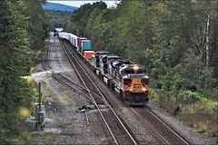 22W: Crossing Over at PACK (Images by A.J.) Tags: train railroad railway rail torrance control point pack packsaddle transportation norfolk southern pittsburgh freight heritage signal lackawanna emd sd70ace container intermodal piggyback pennsylvania laurel highlands