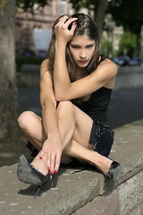 Nathalie 71 (The Booted Cat) Tags: legs heels highheels feet miniskirt sexy brunette long hair model girl