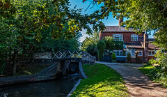 Lock Keepers Cottage (Peter Leigh50) Tags: canal lock bridge gate cottage house building path towpath road trees fujifilm fuji xt2