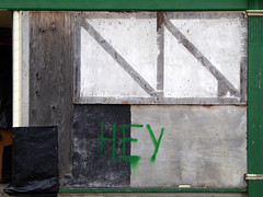 HEY (steve marland) Tags: abandoned abstract abstraction geometry painterly art architecture typography words shop shopfront stockport uk england urbandecay