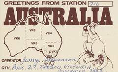 Jenny Stevenson - Tresco, Victoria, Australia (73sand88s by Cardboard America) Tags: qsl qslcard cb cbradio vintage australia kangaroo animal