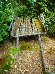 The Rundown Cart (Steve Taylor (Photography)) Tags: derelict digitalart abstract green brown colourful newzealand nz southisland canterbury christchurch bush leaves tree neglected