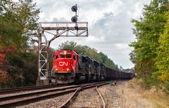 CN...KY (Wheelnrail) Tags: cn canadian national train trains railroad rail road rails locomotive emd sd60 ble bessemer lake erie iron ore kelsey ky signal signals searchlight bridge pennsylvania greenville kremis