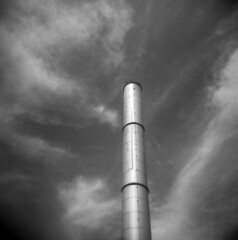 Liverpool (Andrew Bartram (WarboysSnapper)) Tags: holga hp5 baltic liverpool orangefilter id1111 space clouds chimney cains brewery