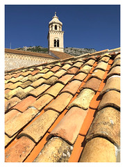 Going up in the world (The Stig 2009) Tags: dubrovnik wall rooftop tiles church tower mountain top city croatia blue sky thestig2009 thestig stig 2009 2018 tony o tonyo apple iphone 8 plus
