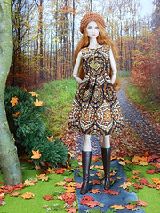 """The """"Autumn"""" dress from my """"Falling leaves"""" collection (Levitation_inc.) Tags: ooak doll dolls clothes handmade levitation levitationfashion fashion fashions royalty barbie nuface fr2 madetomove made move autumn fall 2018 forest wood diorama"""