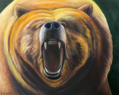 Fear, Anxiety, Stress, Trepidation (Shannon L. Castor) Tags: bear grizzly fear scary wildlife oilpainting