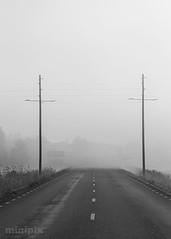 GhosttownRoad_BW_5-7 (minipix.se) Tags: ghost town gate street road power misty fog foggy lines