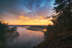 Fiery morning (xkolba) Tags: idyllic scenery scenic dramaticsky sunrise moodysky morning trees autumn outdoor landscape podlasie bug river riverbank water wood forest sky flowingwater poland clouds reflections