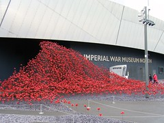 30.10.18 Imperial War Museum North = Remembrance Poppy Display🇬🇧 (rossendale2016) Tags: usa bunker gassed gas muddy dank wet cemetery senseless bullets site landing airodrome parachute down shot sunk ships aircraft raf bombs guns general america ireland scotland wales england regiments pals terrible medals gallantry gallant kill murdered lost generation others save loves sacrificed killed forget we lest iconic icon display bright airmen navy soldiers brave world first dead remembering blood red colourful colorful entrance day remembrance outside poppy poppies quays salford north museum war imperial